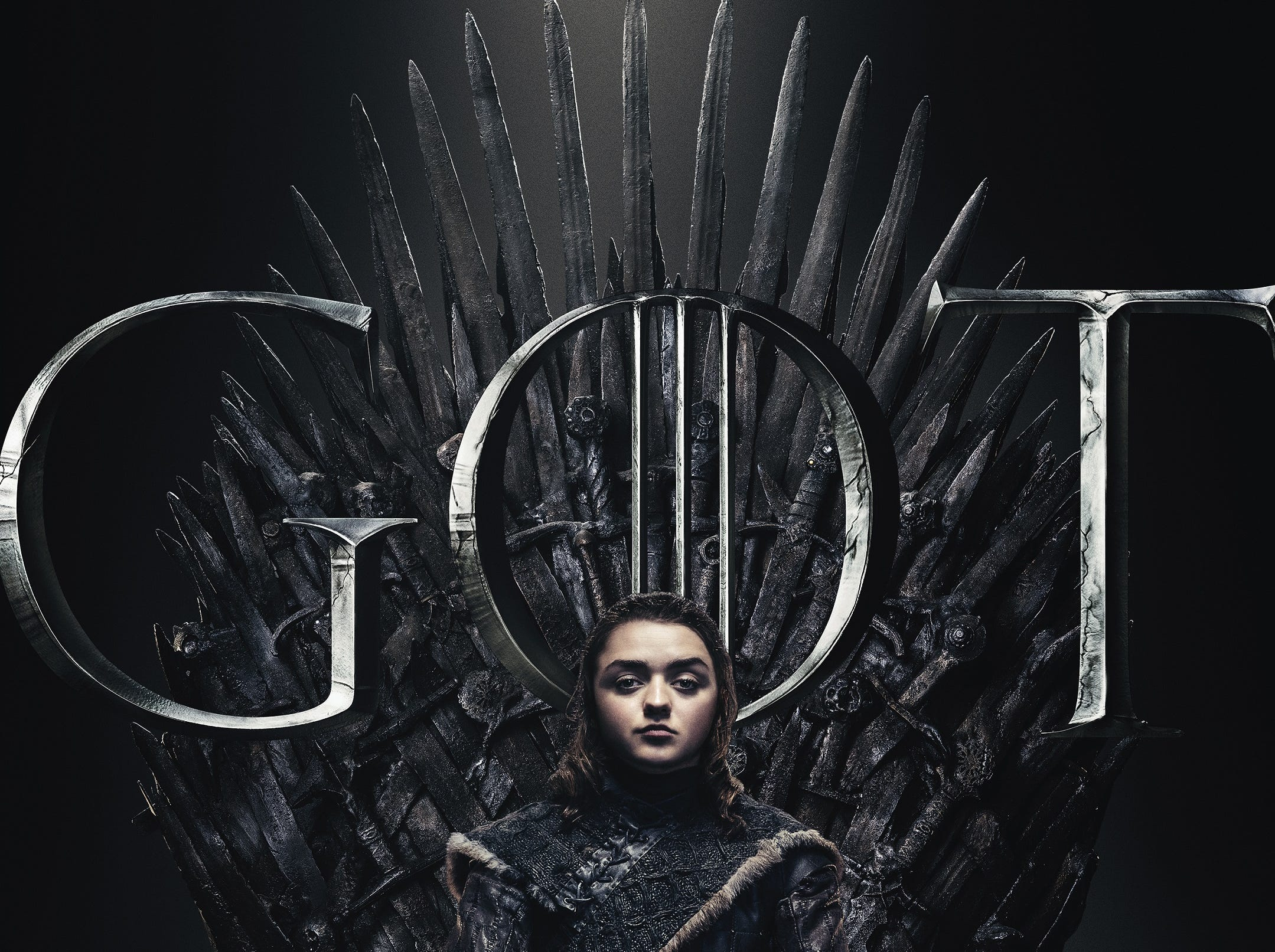 Serene, composed and clutching her faithful Needle, Arya Stark (Maisie Williams) looks ready for a fight.
