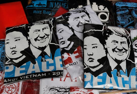 T-shirts sold in Hanoi, Vietnam, for the Trump-Kim summit in February 2019.