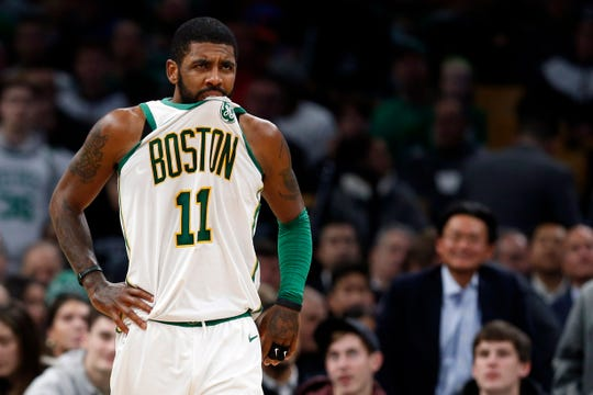 Kyrie Irving reacts during the second half against the New York Knicks at TD Garden.