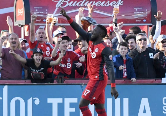 Toronto FC forward Jozy Altidore celebrates a goal.