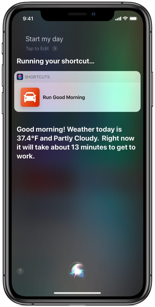 A morning routine as a Siri Shortcut