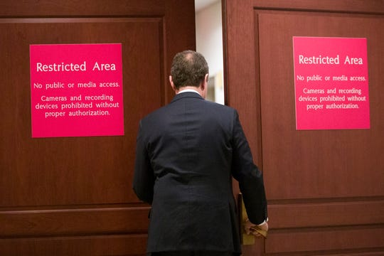 House Intelligence Committee Chairman Adam Schiff arrives to hear Michael Cohen, President Donald Trump's former lawyer, testify before a closed-door hearing of the House Intelligence Committee, on Capitol Hill, Thursday, Feb. 28, 2019, in Washington.