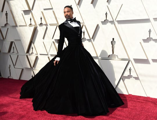 Billy Porter arrives at the Oscars on Sunday, Feb. 24, 2019, at the Dolby Theatre in Los Angeles.