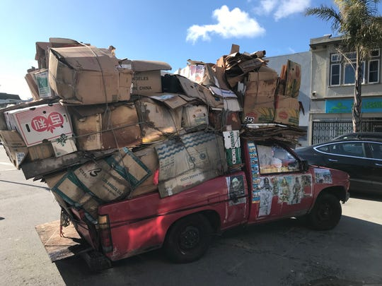 A truck loaded with cardboard for recycling in San Francisco.