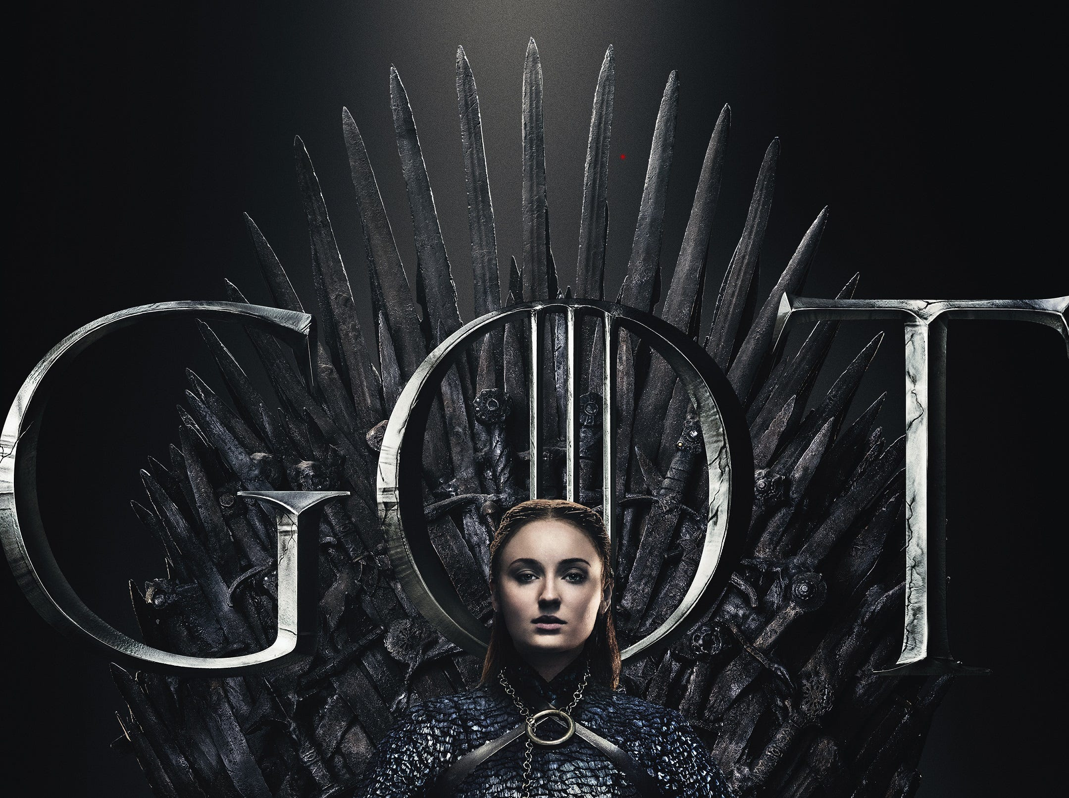 Wearing a scaly dress, Sansa (Sophie Turner) is as battle-worn as her sister.