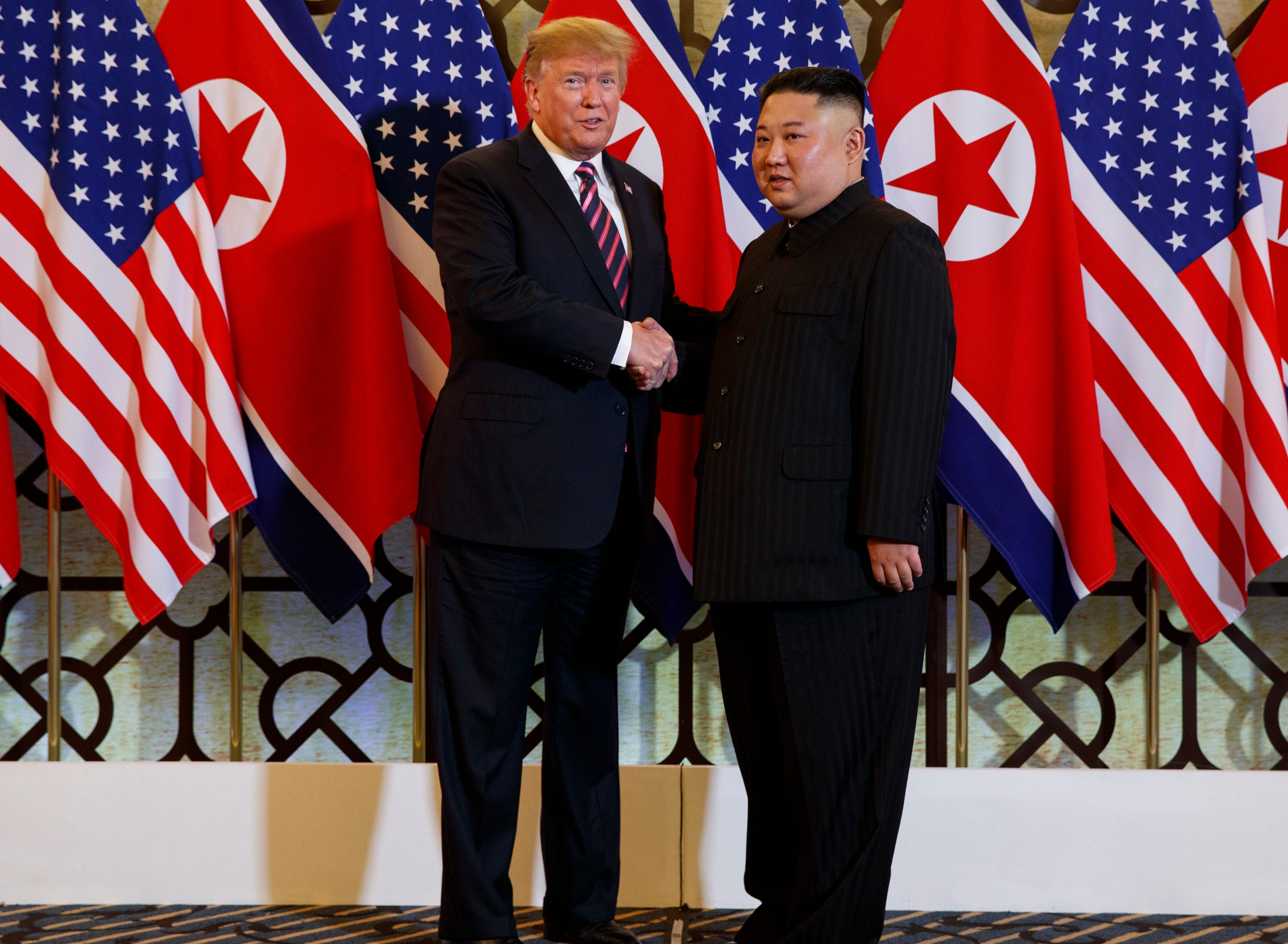 President Donald Trump and North Korean leader Kim Jong Un pose during their summit in Hanoi, Vietnam, Feb. 28, 2019.