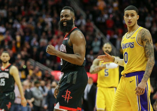 Houston Rockets guard James Harden celebrates during a game against the Los Angeles Lakers.