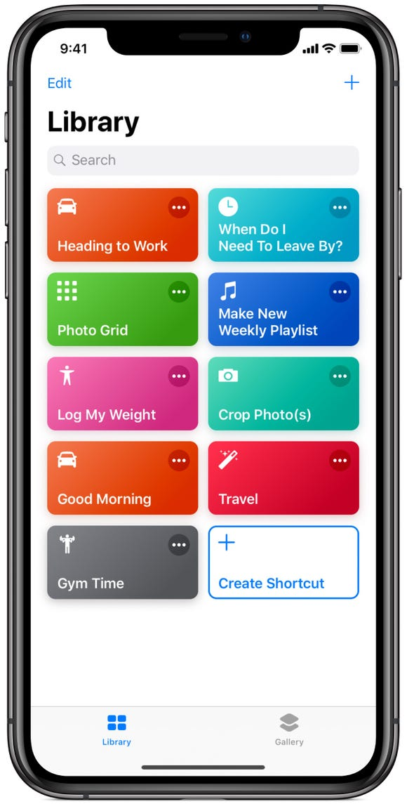 The Siri Shortcuts app library show widgets for your custom shortcuts.