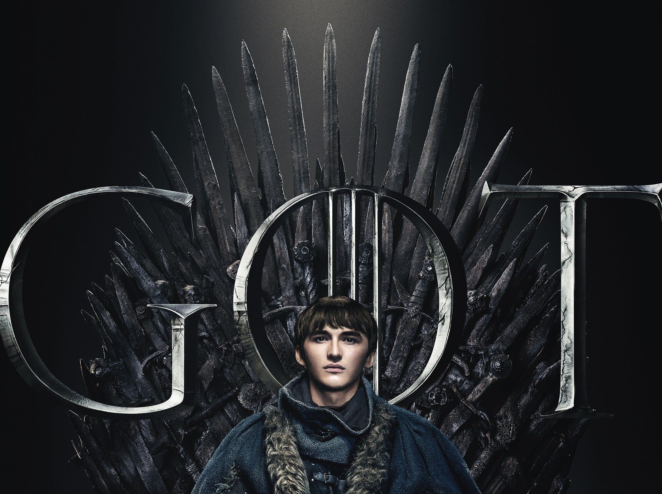 The third remaining Stark child, Bran (Isaac Hempstead-Wright) has the full monk look.