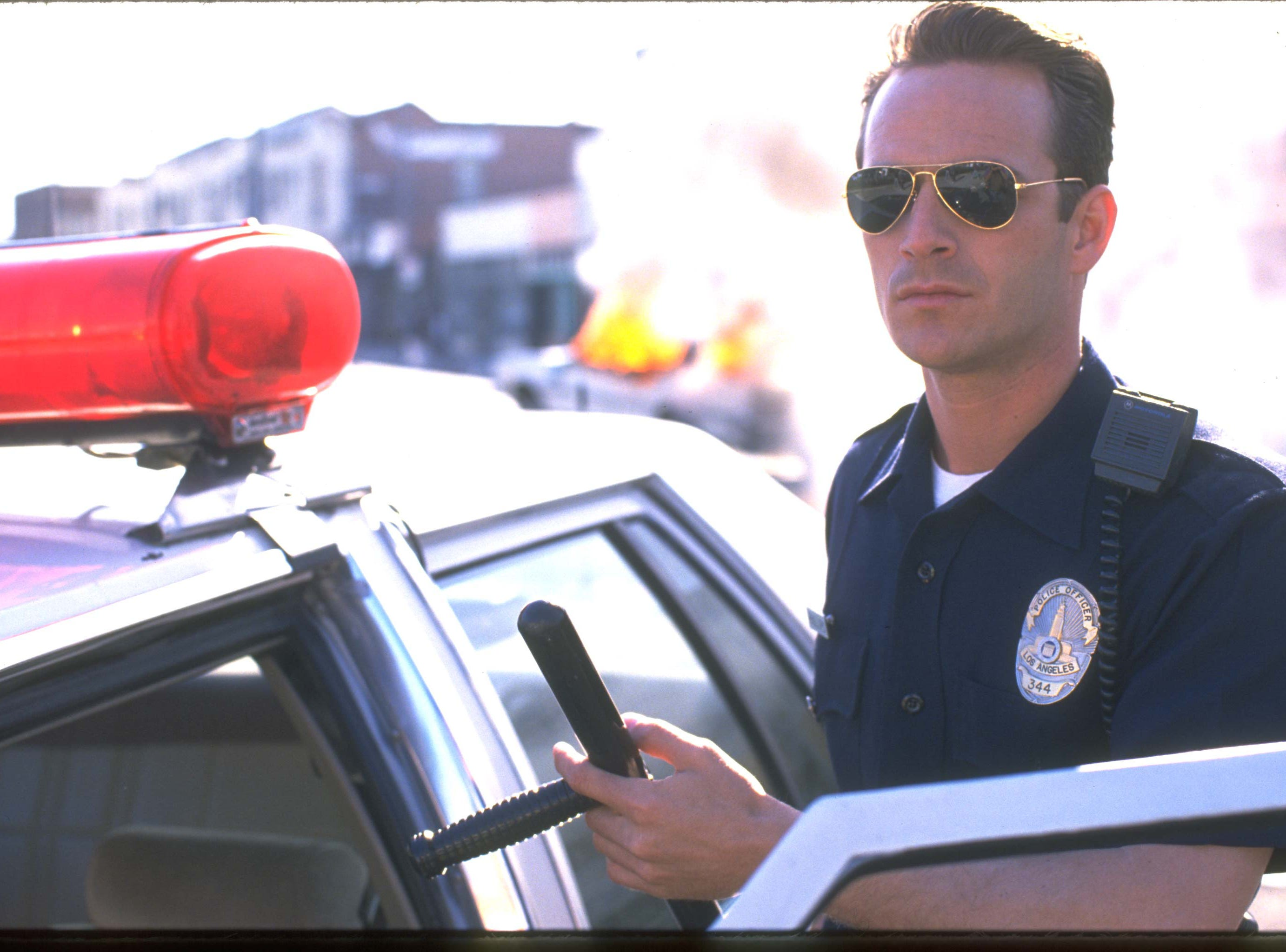 Luke Perry plays a Los Angeles police officer in the Showtime film, Riot.