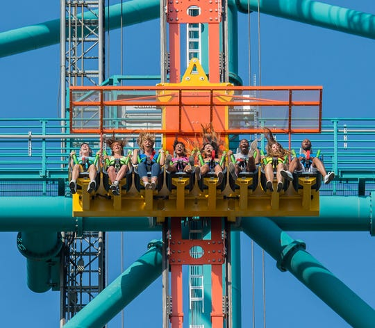 But Zumanjaro: Drop of Doom takes its poky time as it climbs its 456-foot tower. Business picks up considerably on the freefall down when the drop tower's riders hit 90 mph.