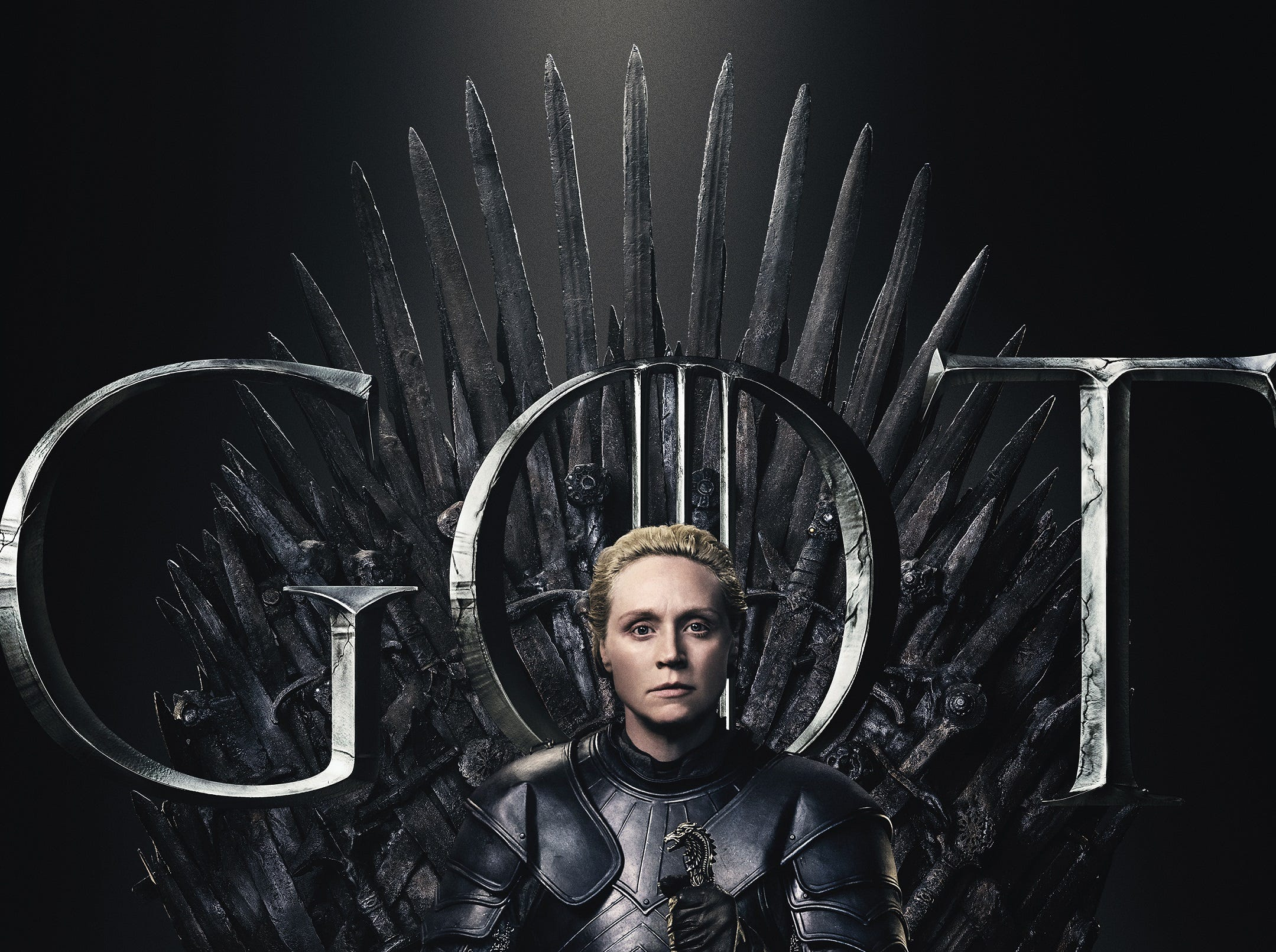 Not looking concerned is Brienne of Tarth (Gwendoline Christie).