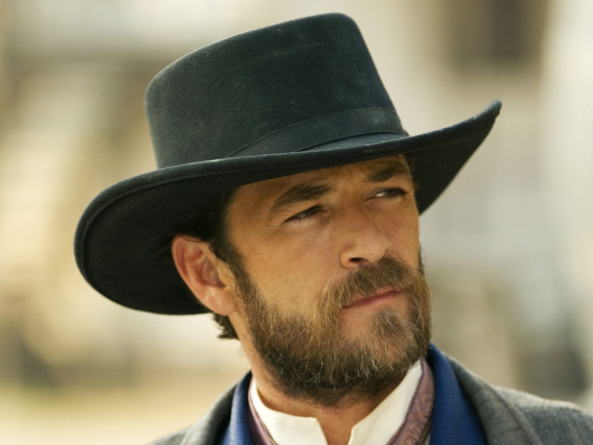Luke Perry stars in a scene from the Hallmark Movie Channel Original World Premiere , Goodnight For Justice.