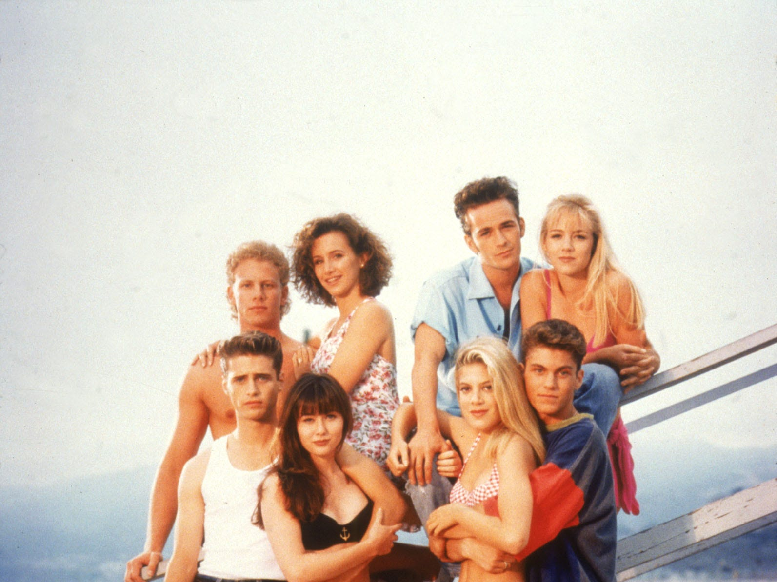 "The original cast of ""Beverly Hills 90210"". Luke Perry, top row, second from right."
