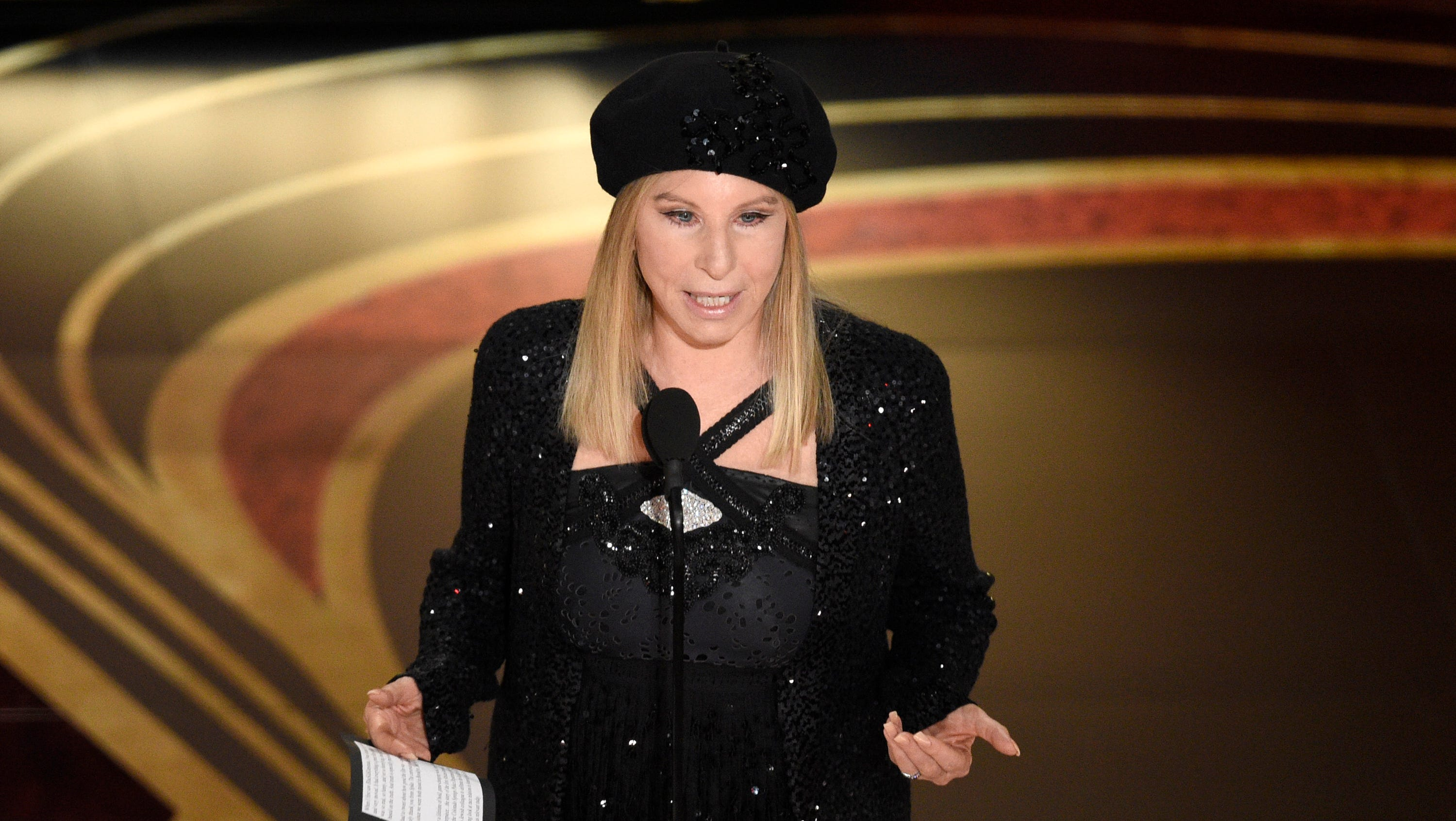 "Barbra Streisand introduces ""BlacKkKlansman"" at the Oscars on Sunday, Feb. 24, 2019, at the Dolby Theatre in Los Angeles. (Photo by Chris Pizzello/Invision/AP) ORG XMIT: CADA673"