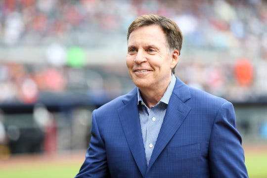 Sportscaster Bob Costas on the field before a game between the Atlanta Braves and Baltimore Orioles at SunTrust Park.