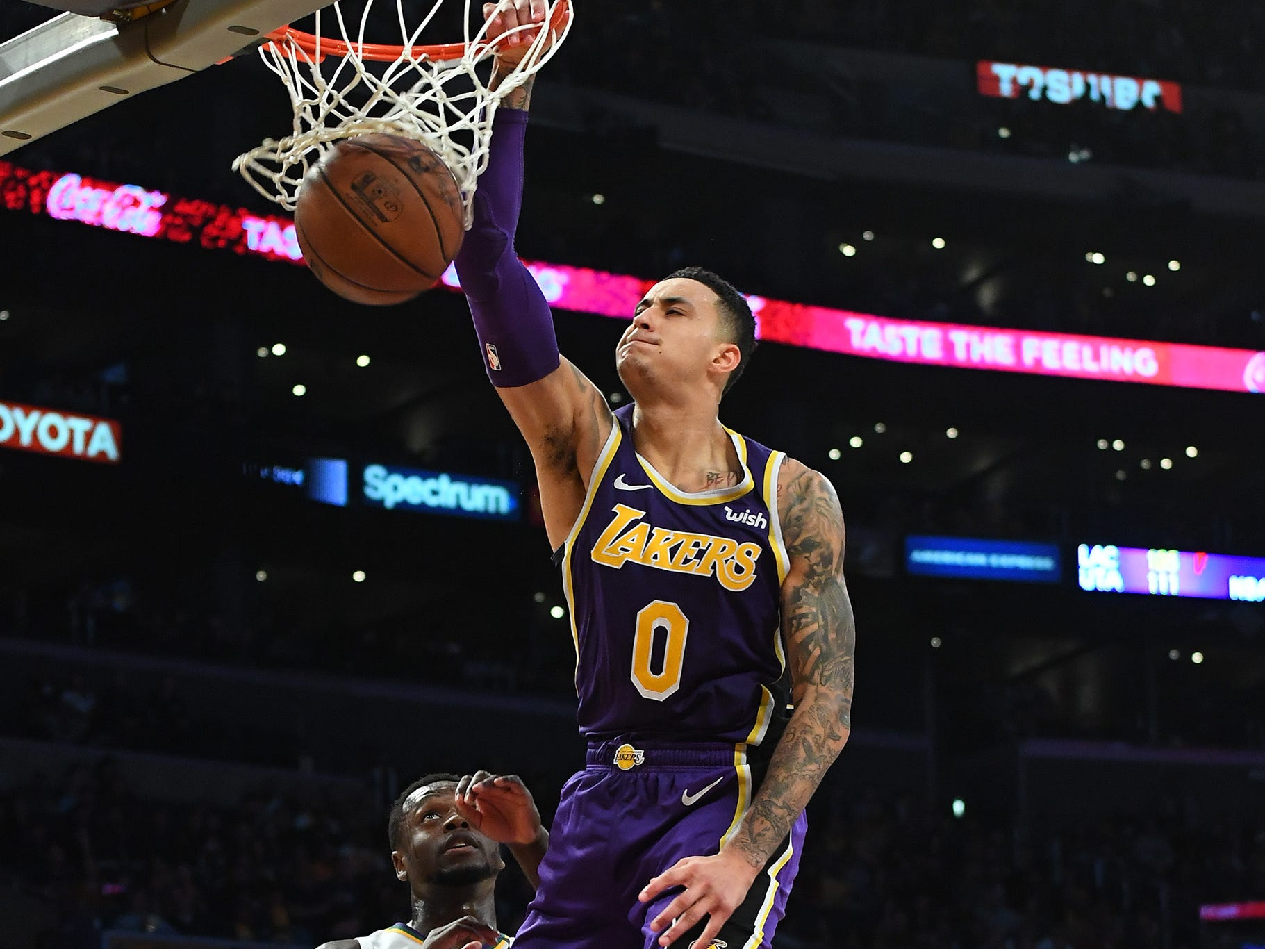 Feb. 27: Lakers forward Kyle Kuzma throws down the thunderous one-handed flush against the Pelicans at Staples Center.