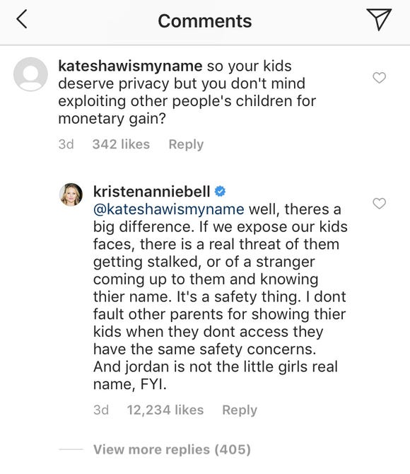 Kristen Bell responded to a comment accusing her of 'exploiting' a child for profit.