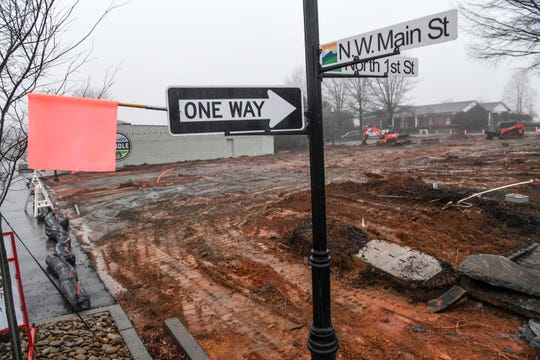 A lot in front of town hall being graded in downtown Easley Friday. Easley has put out an invitation on February 4, 2019, requesting proposals from developers by April 5, 2019 to have the ability to develop a new mixed use development in downtown land.