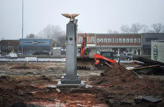 A war monument is left standing in a lot in front of town hall in downtown Easley Friday. Easley has put out an invitation on February 4, 2019, requesting proposals from developers by April 5, 2019 to have the ability to develop a new mixed use development in downtown land.
