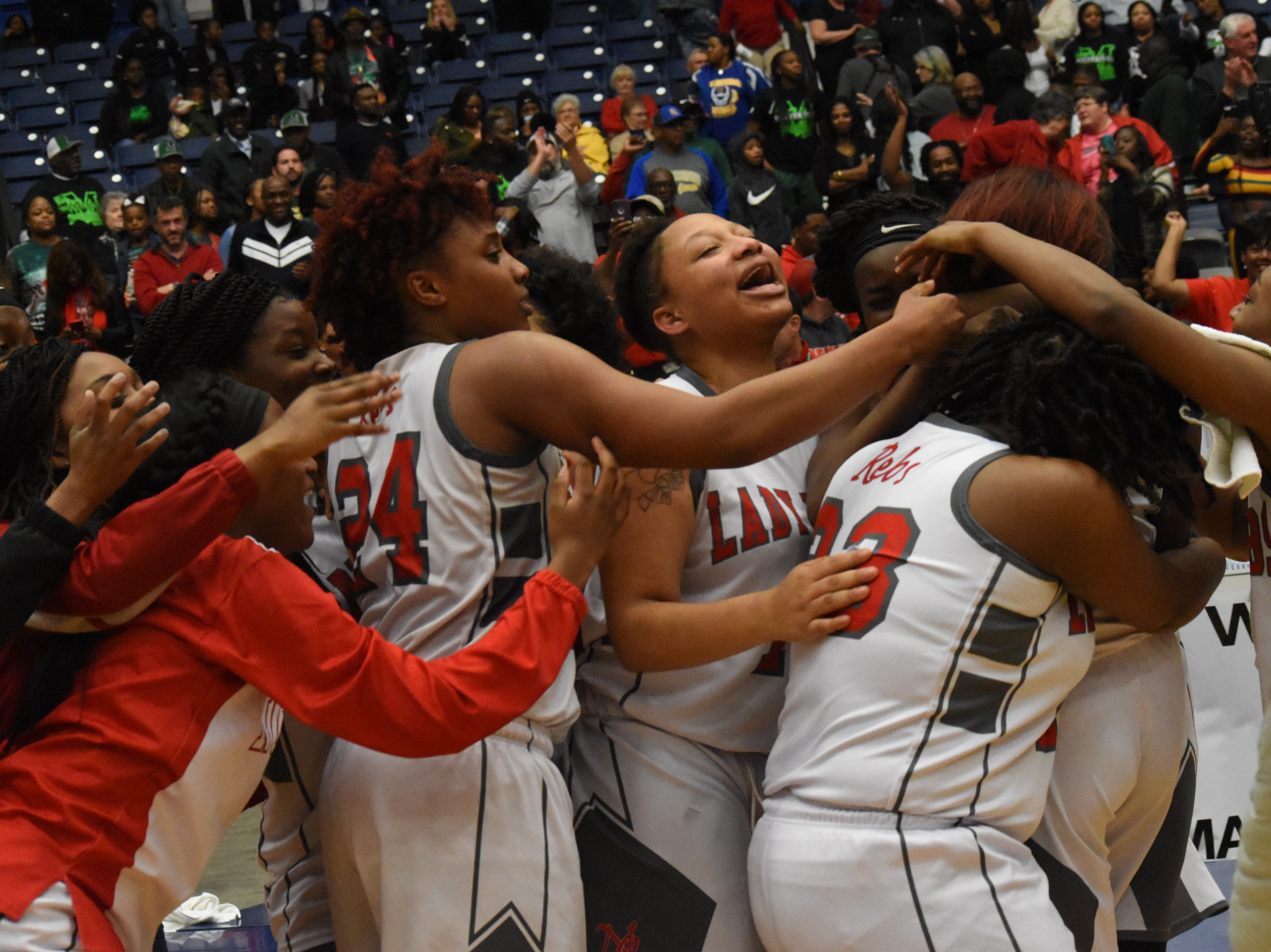 North Caddo Lady Rebels Raven celebrate their win over Red River 48-47 in the last second of the Class 2A semifinal game of the 2019 Allstate Sugar Bowl 2019 Louisiana High School Athletic Association Girl's State Basketball Marsh Madness held Thursday, Feb. 28, 2019 at the Rapides Parish Coliseum in Alexandria.