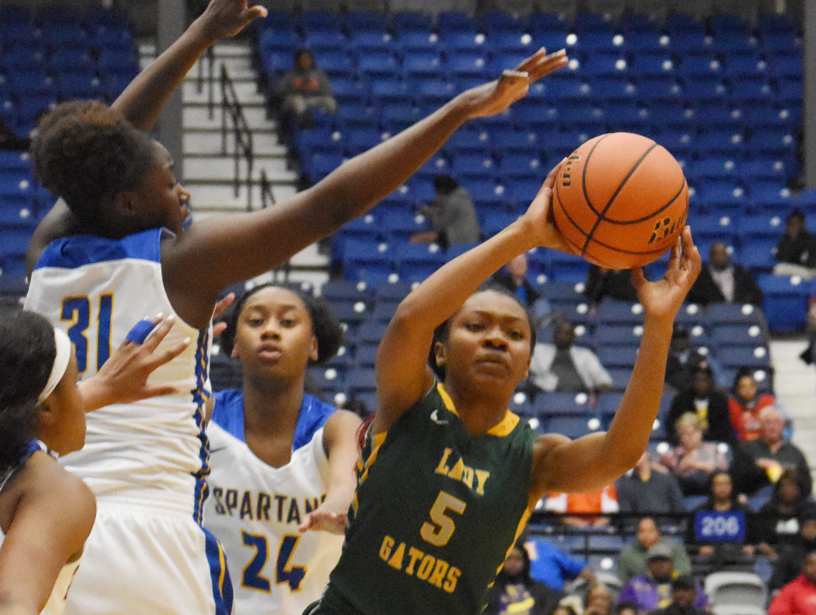 Captain Shreve vs.East Ascension in the Class 5A semifinal game of the 2019 Allstate Sugar Bowl 2019 Louisiana High School Athletic Association Girl's State Basketball Marsh Madness held Thursday, Feb. 28, 2019 at the Rapides Parish Coliseum in Alexandria. Captain Shreve won 65-48.
