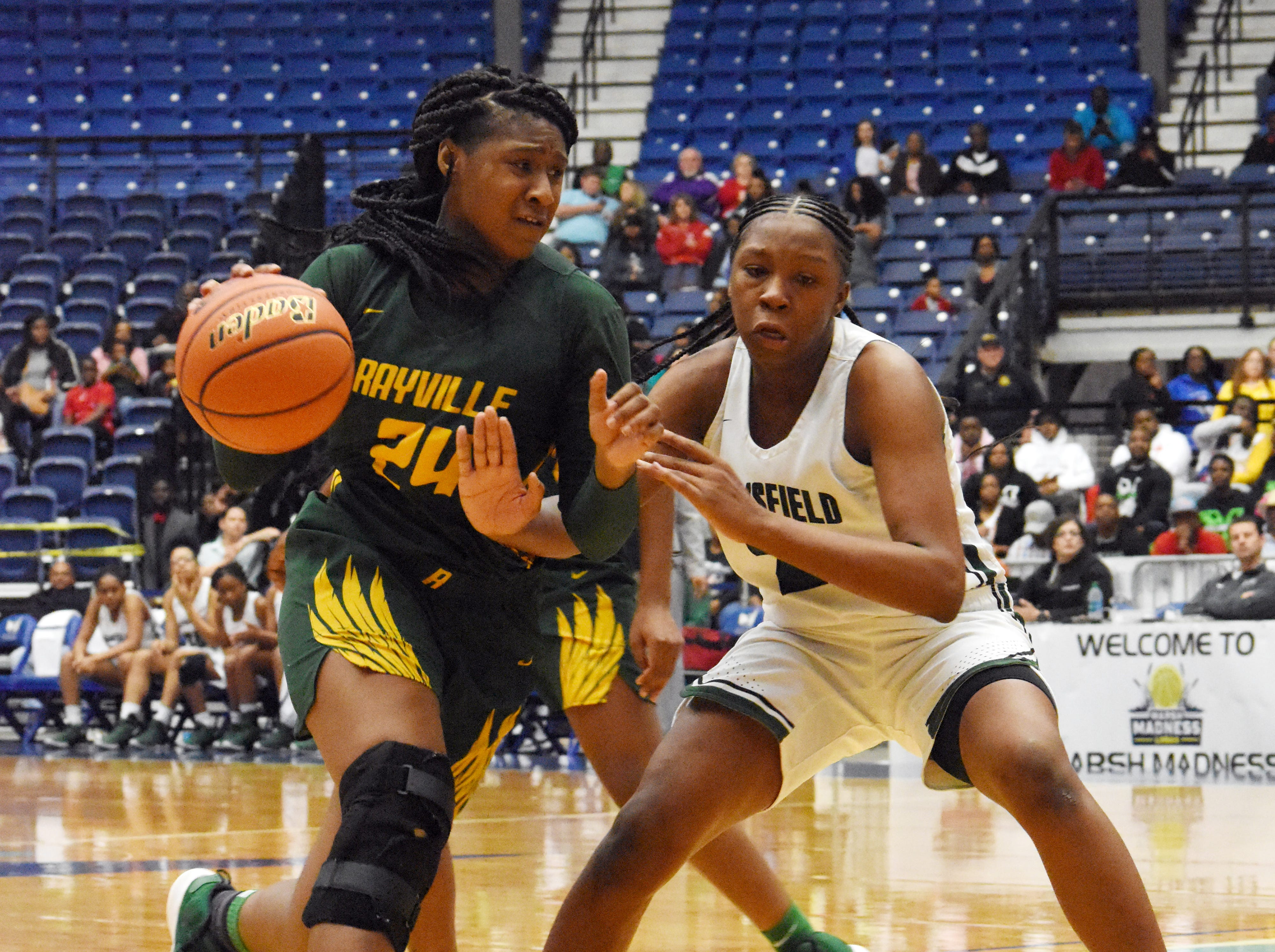 Mansfield High School vs. Rayville High School in the Class 2A semifinal game of the 2019 Allstate Sugar Bowl 2019 Louisiana High School Athletic Association Girl's State Basketball Marsh Madness held Thursday, Feb. 28, 2019 at the Rapides Parish Coliseum in Alexandria. Mansfield won 57-49.