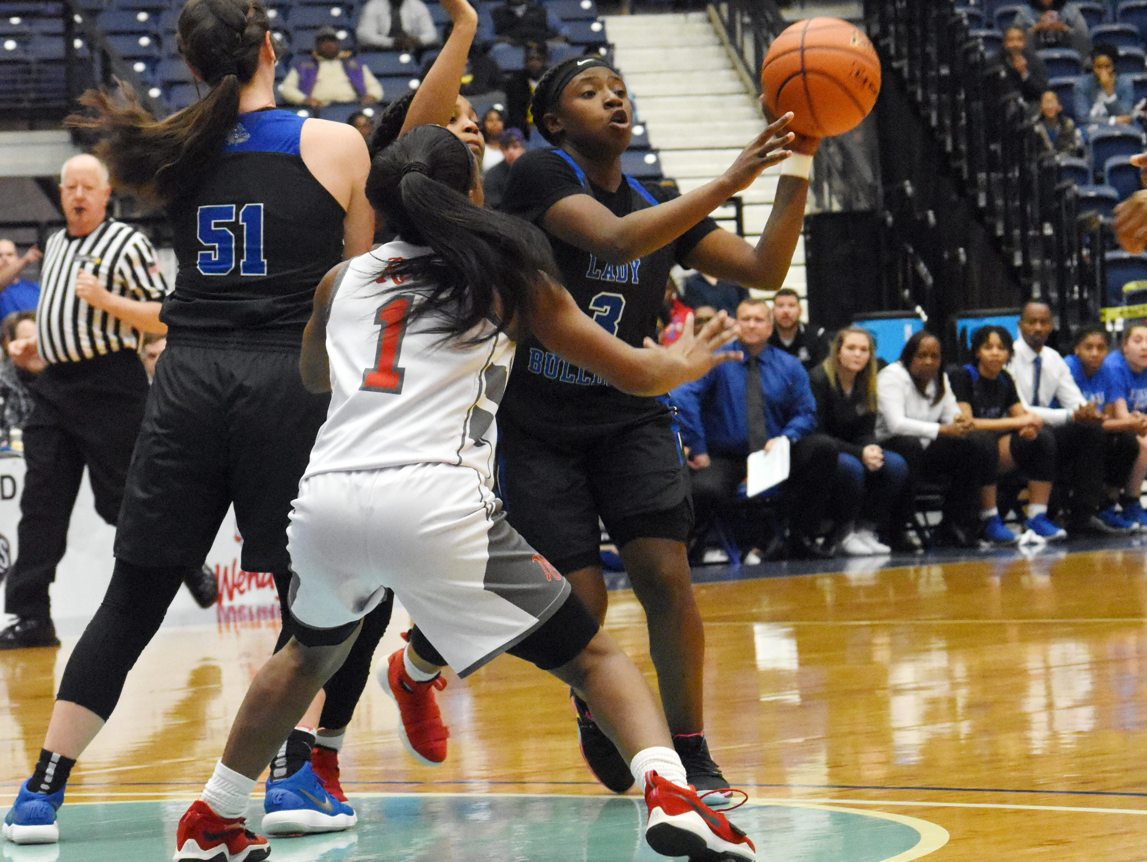 North Caddo Lady defeated Red River 48-47 in the last second of the Class 2A semifinal game of the 2019 Allstate Sugar Bowl 2019 Louisiana High School Athletic Association Girl's State Basketball Marsh Madness held Thursday, Feb. 28, 2019 at the Rapides Parish Coliseum in Alexandria.