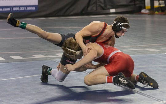 Jackson Memorial's Vincent Scollo defeated High Point's Devin Flannery 2-1 in overtime in their second round 120 lbs. bout. NJSIAA State Wrestling opening rounds in Atlantic City, Thursday February 28, 2019