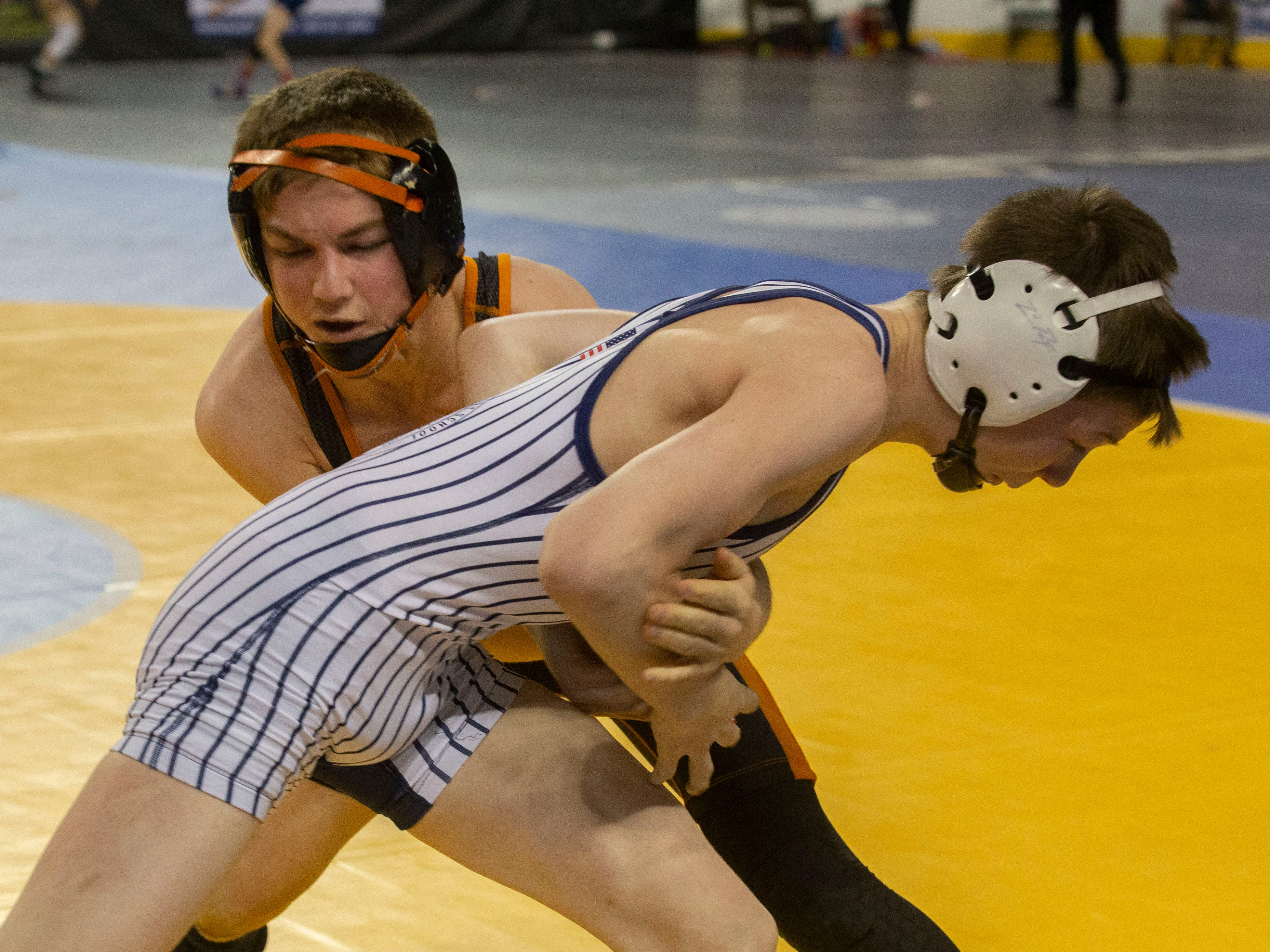 Middletown North's Tyler Klinsky pinned St. Augustine Prep's Ryan Defoney in his second match of NJSIAA State Wrestling opening rounds in Atlantic City, Thursday February 28, 2019