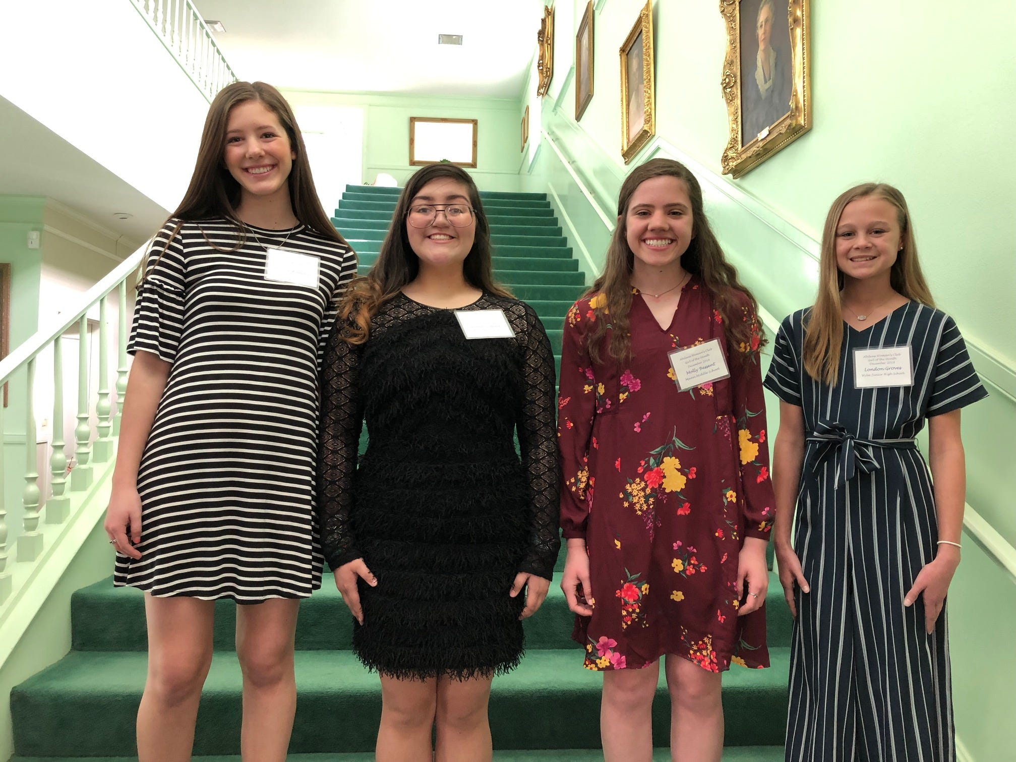 The December Girls of the Month at the Abilene Woman's Club. From left: Maeve Wallace, Craig Middle School; Anessa Tedford, Madison Middle School; Molly Bessent, Mann Middle School; and London Groves, Wylie Middle School. Not pictured: Jordan Hernandez, Clack Middle School.