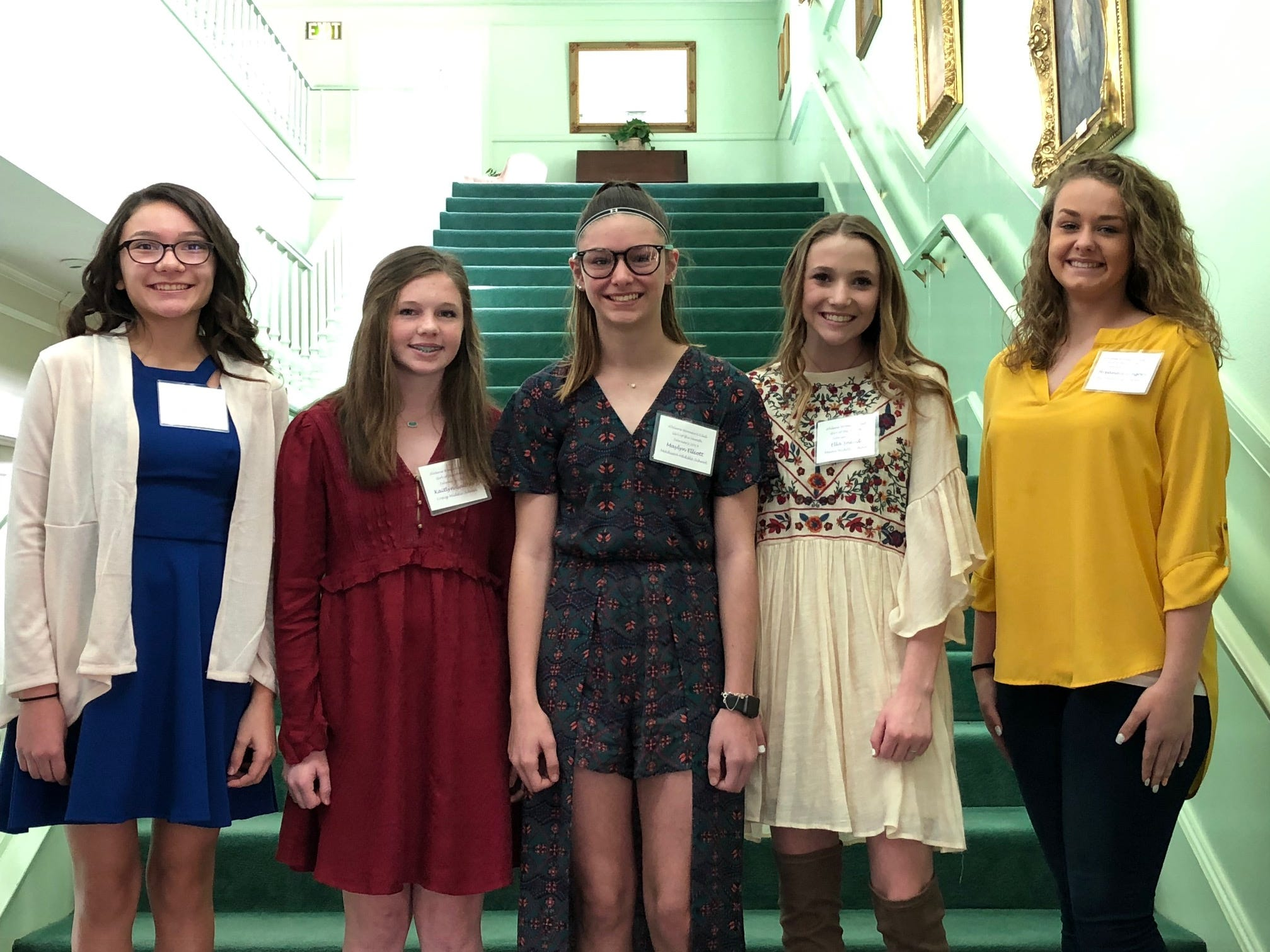 The February Girls of the Month at the Abilene Woman's Club. From left: Alexa Moncayo, Clack Middle School; Kaitlyn Gaither, Craig Middle School; Maylyn Elliott, Madison Middle School; Ella Snead, Mann Middle School; and Breanna Gregory, Wylie Middle School.