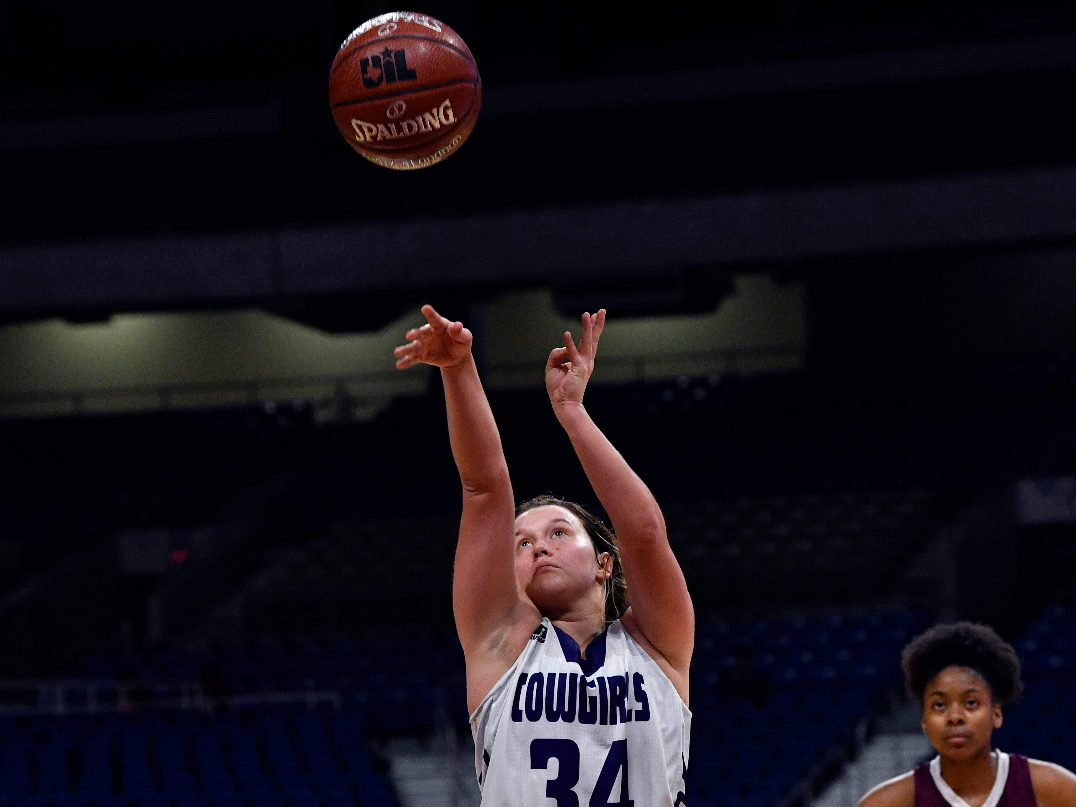 Mason forward Jesse Armstrong shoots a free throw during Friday's UIL Class 2A girls state basketball semifinal against Grapeland at the Alamodome in San Antonio March 1, 2019.