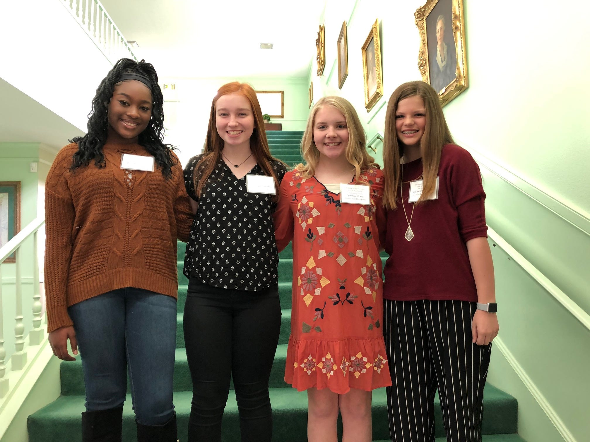 The January Girls of the Month at the Abilene Woman's Club. From left: Brooklyn Jones, Clack Middle School; Ryleigh Lawson, Craig Middle School; Karlie Stotts, Mann Middle School; and Campbell Beard, Wylie Middle School. Not pictured: Sydney Smith, Madison Middle School.