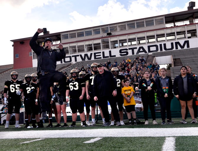 "Glenn Morshower as Abilene High Coach Steve Warren jumps into the air, reenacting a moment of anger during a game Feb. 2, 2019. The film ""Brother's Keeper"" recreates the Abilene High School Eagles 2009 championship football season."