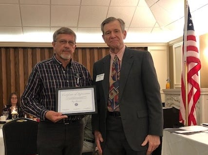 The Pecan Valley Kiwanis Club presented a special appreciation award to Roy Parrack in recognition of his continuing service to the community.