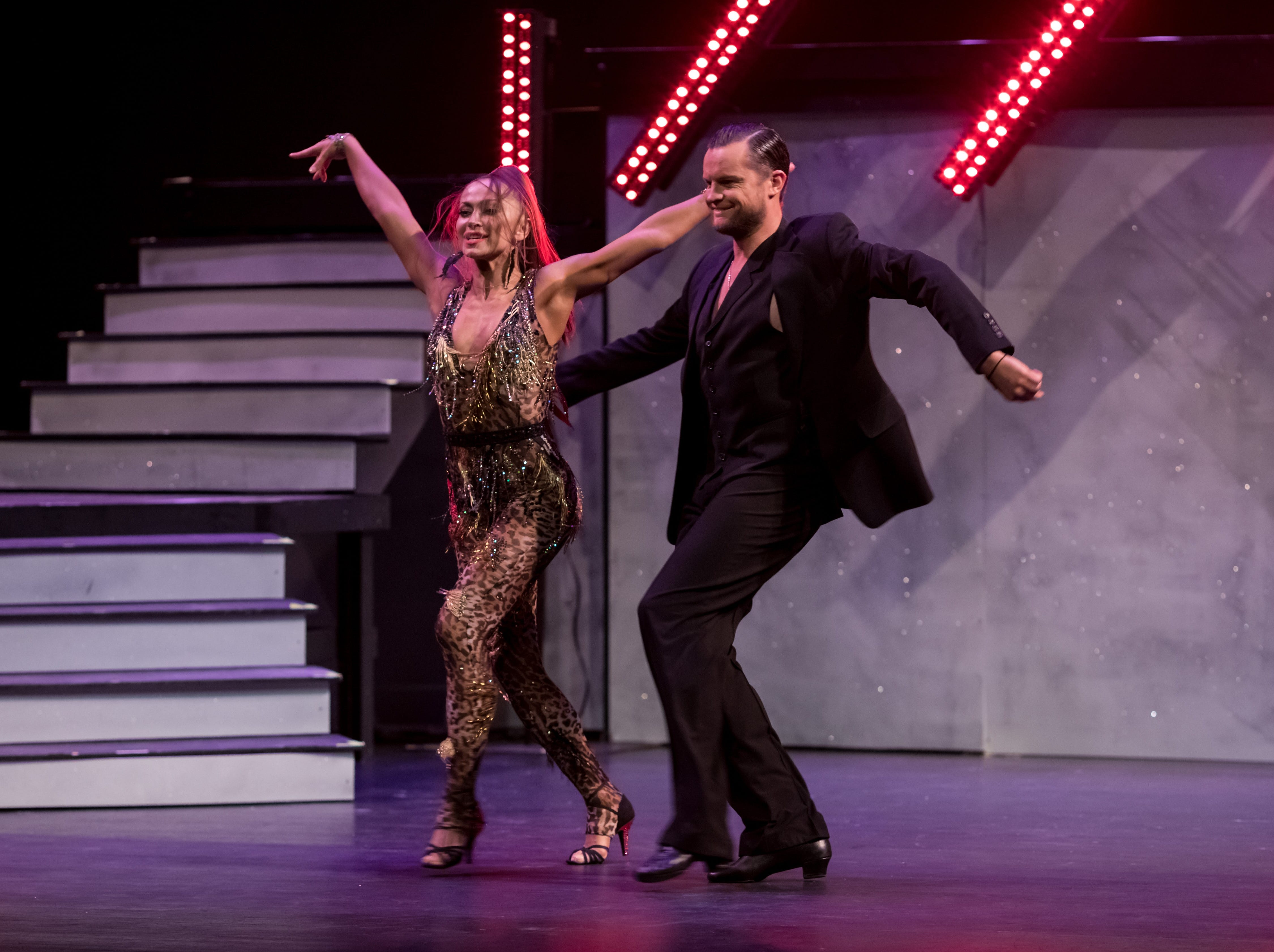 """Karina Smirnoff and her partner Justin Duknauskas perform at the inaugural """"Dancing with the Local Stars"""" Feb. 24, 2019, in Asheville."""