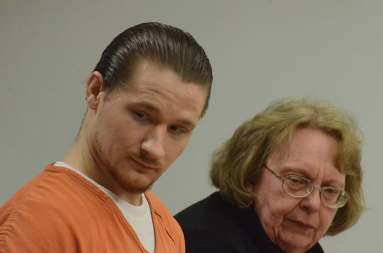 Brady West, sentenced to prison on Friday, with his attorney, Susan Mladenoff.