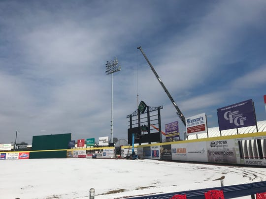 The new video scoreboard being installed at NYSEG Stadium.