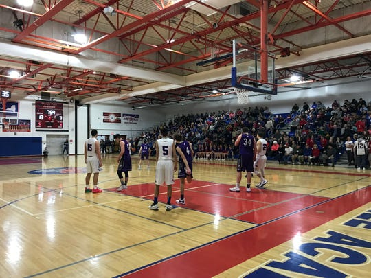 The stands at Owego are filled to near capacity for Thursday's Section 4 Class B semifinal between the Indians and Norwich. Owego won, 60-41.