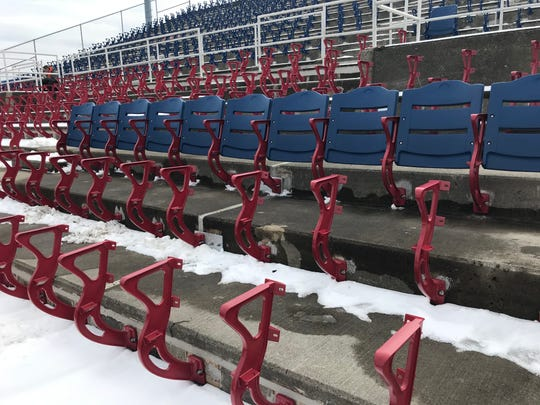 New seating is being installed at NYSEG Stadium.