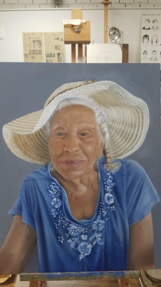 """Work by students of Bob Travers, like """"Portrait"""" by Margaret St. Bernard, will be featured in the Emerging Artists exhibit at the Black Mountain Center for the Arts."""