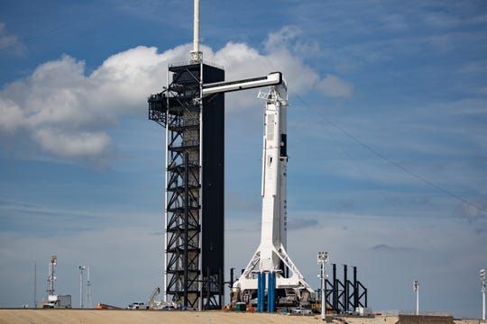 SpaceX's Crew Dragon spacecraft sits atop a Falcon 9 rocket at Kennedy Space Center's pad 39A on Friday, March 1, 2019.