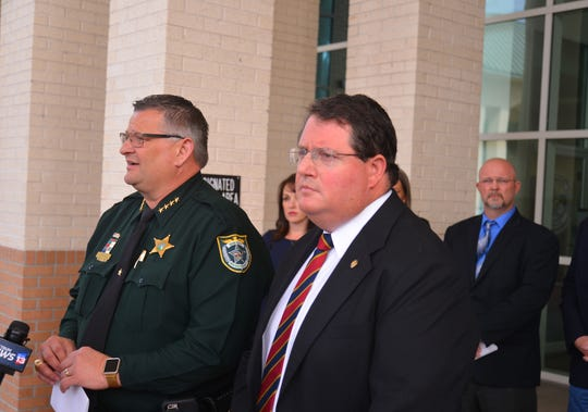 Brevard County Sheriff Wayne Ivey and Florida Rep. Randy Fine held a news conference Friday at the Brevard County Government Center in Viera to discuss legislation Fine is sponsoring to reduce the requirements that government entities like counties, cities and school districts purchase public notices in newspapers.