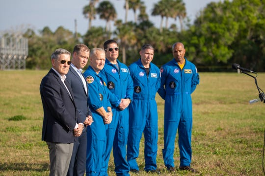 Left to right: Kennedy Space Center Director Bob Cabana and NASA Administrator Jim Bridenstine are joined by astronauts Dough Hurley, Bob Behnken, Mike Hopkins and Victor glover during a SpaceX Crew Dragon pre-launch conference on Friday, March 1 2019.