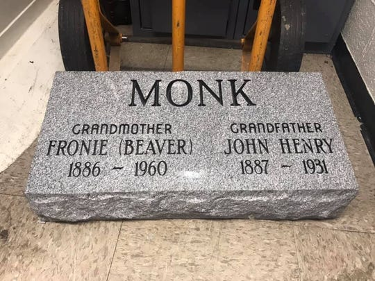 This tombstone was found in an empty apartment in Bucyrus.