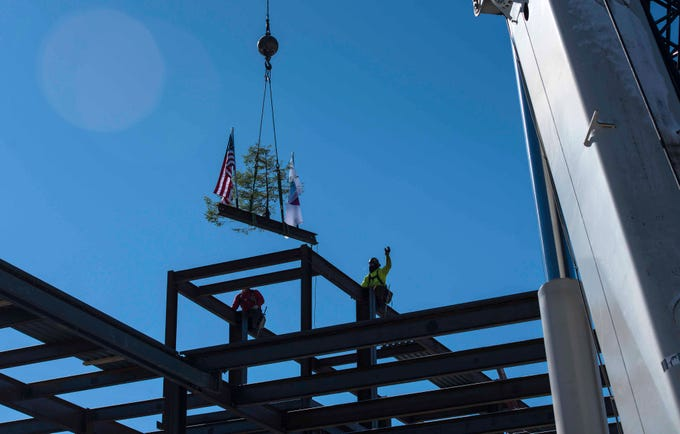 """The """"topping off"""" ceremony for the new Burlington YMCA building took place Thursday, Feb. 28, 2019."""