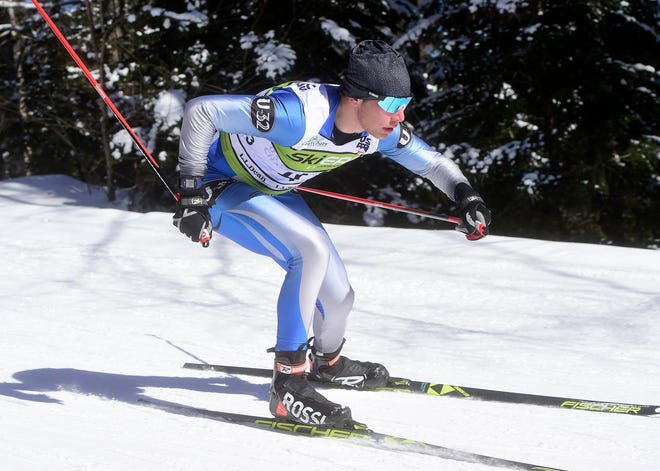 U-32's Greyson Davis races to a third place finish Thursday in the Division II high school Nordic skiing state championships at the Craftsbury Outdoor Center on Thursday.