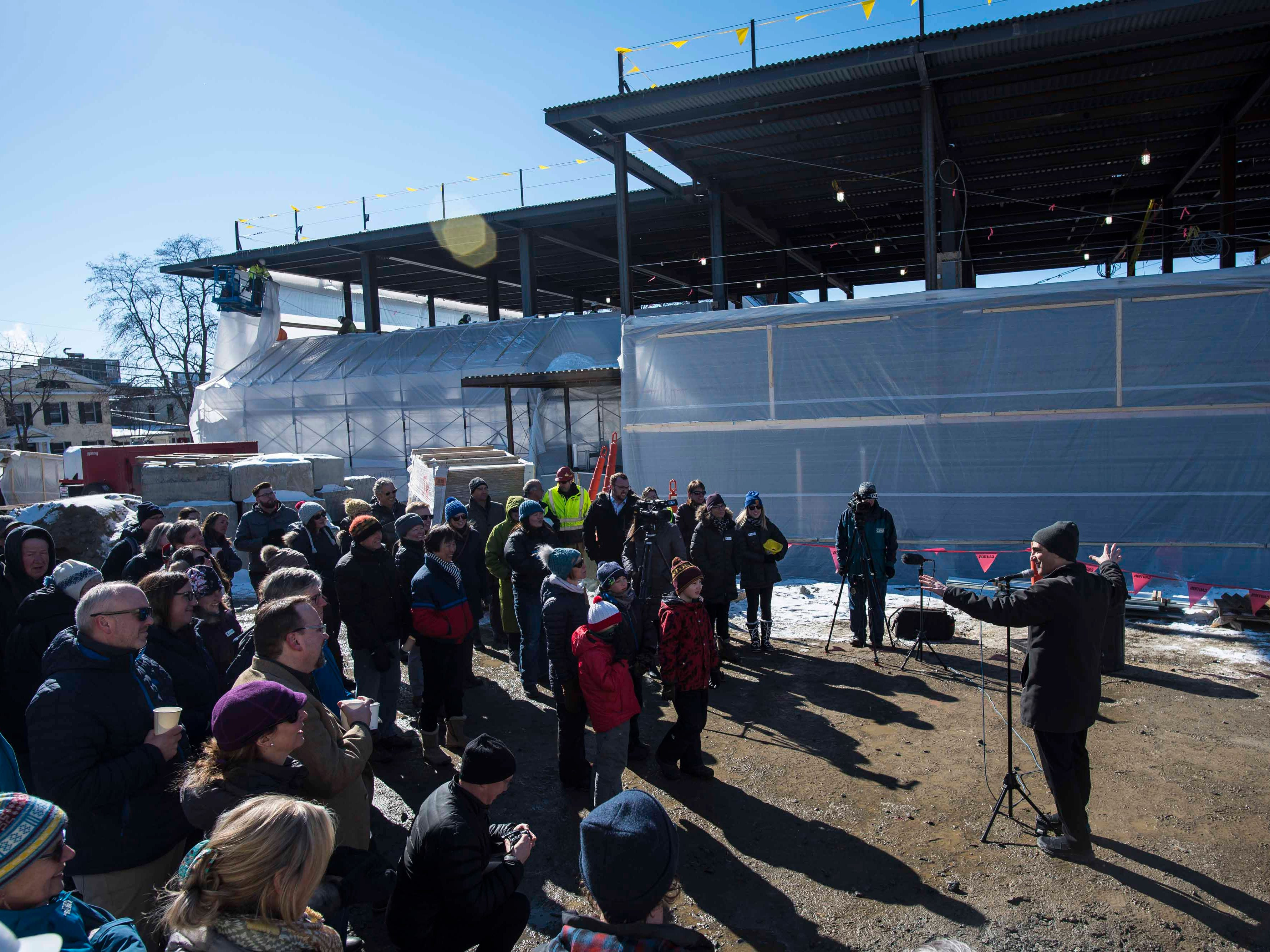 """Burlington Mayor Miro Weinberger speaks at a """"topping off"""" ceremony for the new Burlington YMCA building Thursday, Feb. 28, 2019."""