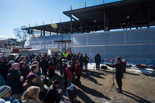 "Burlington Mayor Miro Weinberger speaks at a ""topping off"" ceremony for the new Burlington YMCA building Thursday, Feb. 28, 2019."